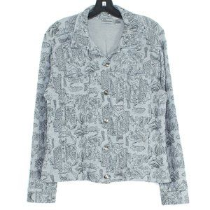 Chicos Jacket Button Up Printed Gray 2 Large 12 HT